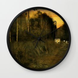 A walk by the River at Dusk Wall Clock