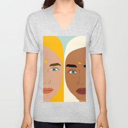 Day & Night, Sun & Moon Friendship Illustration, Nature Bohemian Woman Empower Portrait Unisex V-Neck