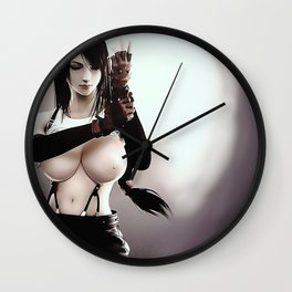 Sexy Final Fantasy - Tifa Cartoon Nude erotic, topless japanese rpg game character, kinky CGI Wall Clock