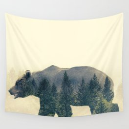 Bear - Double Exposure Wall Tapestry