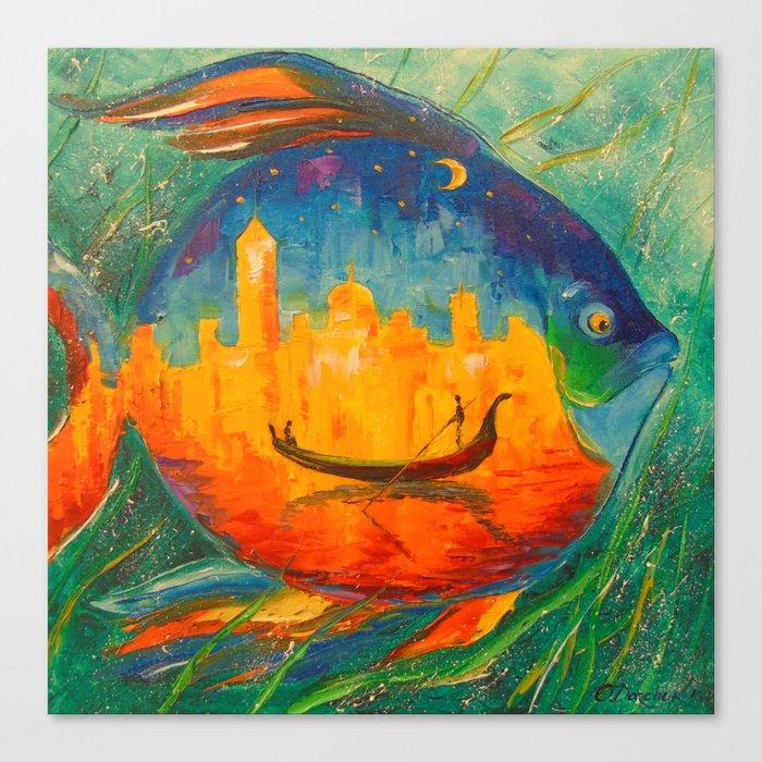 Romantic fish Canvas Print
