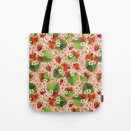 Pink Paisley Strawberries Tote Bag