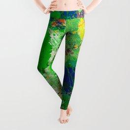 Spring Time Splatter - Abstract blue and green platter painting Leggings