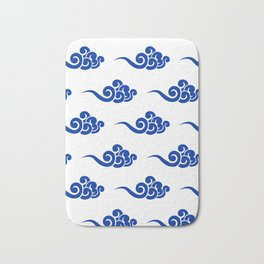 Chinese Wind Symbols in Porcelain Blue and White Bath Mat