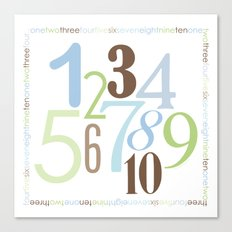 Numbers Square - Brody Colorway Canvas Print