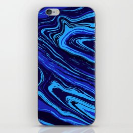 Abstract blue vivid agate slice iPhone Skin