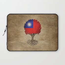 Vintage Tree of Life with Flag of Taiwan Laptop Sleeve