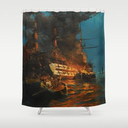 The Burning of a Turkish Frigate Shower Curtain