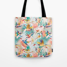 Colorful, Vibrant Paradise Birds and Leaves Tote Bag