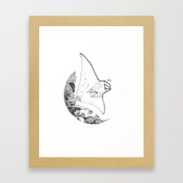 Manta Line Art Framed Art Print