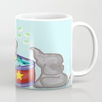 baby elephant Mugs featuring Baby Elephant  by grapeloverarts