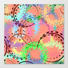 Texture of pastel gears and laurel wreaths in kaleidoscopic pink style. Canvas Print