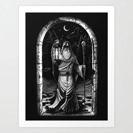 IX. The Hermit Tarot Card Illustration Art Print