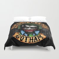 anarchy Duvet Covers featuring Joker Son of Anarchy by JanaProject