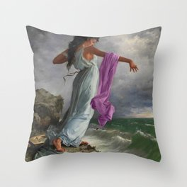Death of the Tenth Muse Poetess Sappho at Leucadian cliffs by Miguel Carbonell Selva Throw Pillow