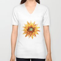 sunflower V-neck T-shirts featuring Sunflower by Klara Acel
