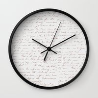 writing Wall Clocks featuring Vintage Writing by ForeverCreativity