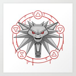 Witcher White Wolf Signs Medallion Art Print
