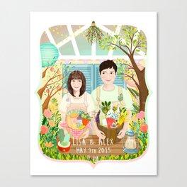 Wedding invitation design for Lisa and Alex Canvas Print