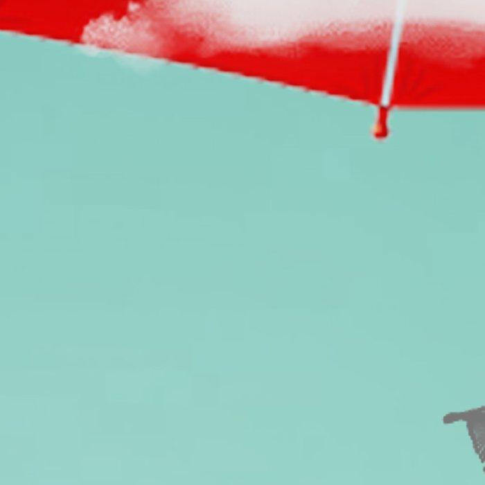 Teal Sky Red Umbrella Leggings