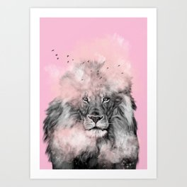 Lion in Pink Art Print