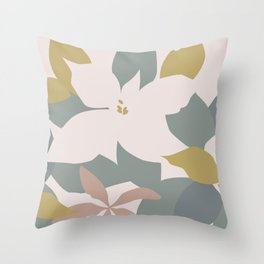 Leafy Floral Collage on Pale Pink Throw Pillow