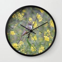 Ash-Throated Flycatcher in a Mustard Field Wall Clock