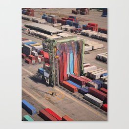 Container Drapes - Glitch in the docks Canvas Print