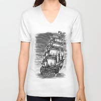 pirate ship V-neck T-shirts featuring Caleuche Ghost Pirate Ship by Roberto Jaras Lira