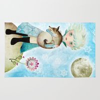 the little prince Area & Throw Rugs featuring Wintry Little Prince by Sandra Vargas