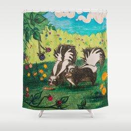 Skunk Picnic Shower Curtain