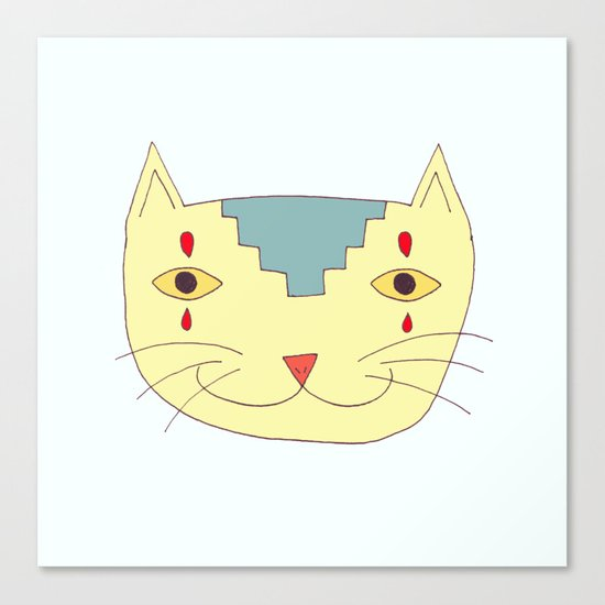 Aztec Cat Canvas Print