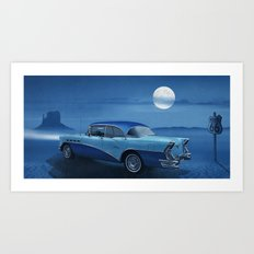 Blue night on Route 66 Art Print