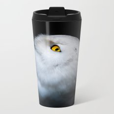 Winter White Snowy Owl Metal Travel Mug