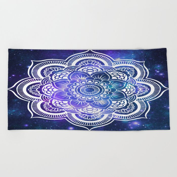 Mandala: Violet & Teal Galaxy Beach Towel