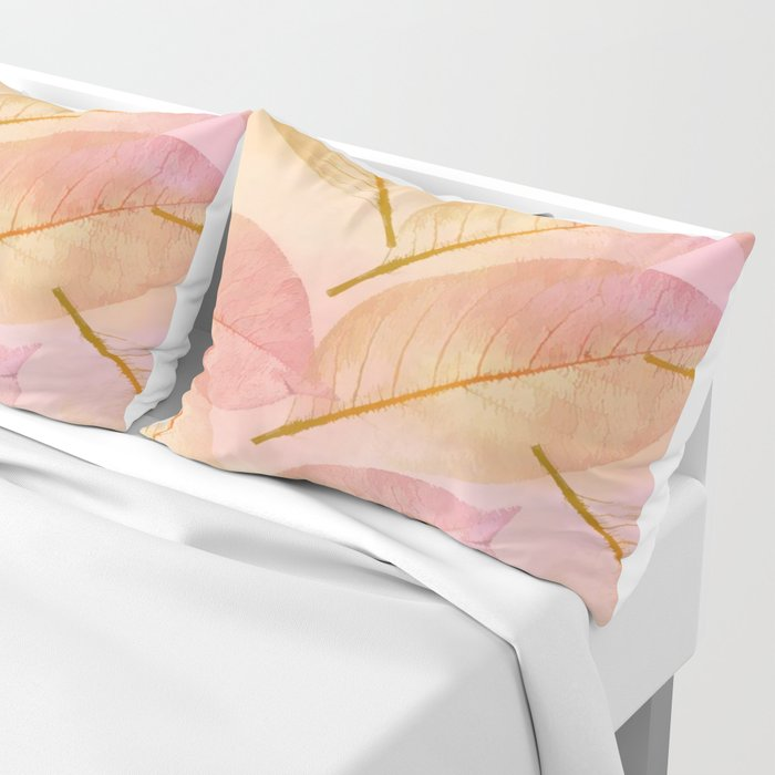 Pastel Fall Leaf Abstract Pillow Sham