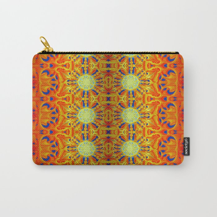 B Bloom Pattern Orange Carry-All Pouch