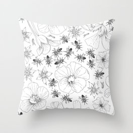 Honeybees and co. Throw Pillow