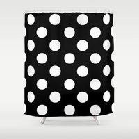 polka dots Shower Curtains featuring Polka Dots (White/Black) by 10813 Apparel
