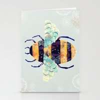 bee Stationery Cards featuring bee by Yellow Button Studio