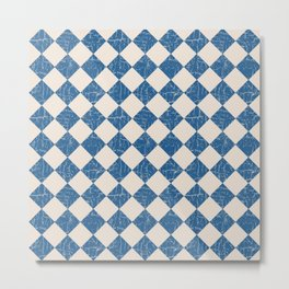 Rustic Checkerboard in Blue and Cream Metal Print