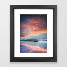 Sunset Over Lake Como Italy Framed Art Print