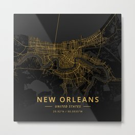 New Orleans, United States - Gold Metal Print