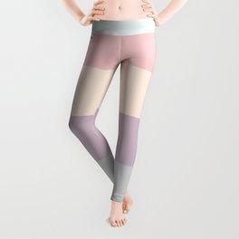 easter spring pastel color eggshell blue dusty rose blush pink stripe Leggings