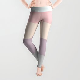easter spring pastel color eggshell blue dusty rose blush pink stripe Leggings