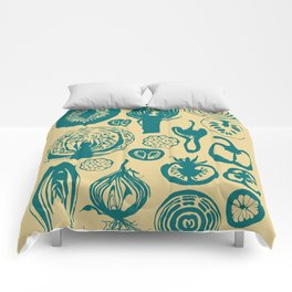 Adorned Fruit and Vegetable Box in Cream and Teal Comforters
