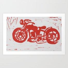 Motorbike Linocut Art Print