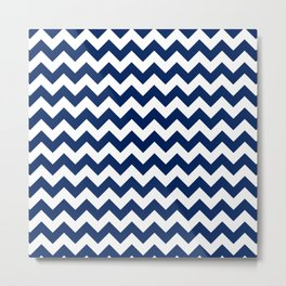Navy and White Chevron Stripes Metal Print