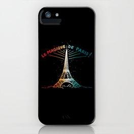 Le Magique De Paris (the magic of...) French Artwork, Eiffel Tower Print iPhone Case