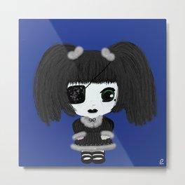 Little Gothic Lolita Kira - Classic (Blue Background) Metal Print